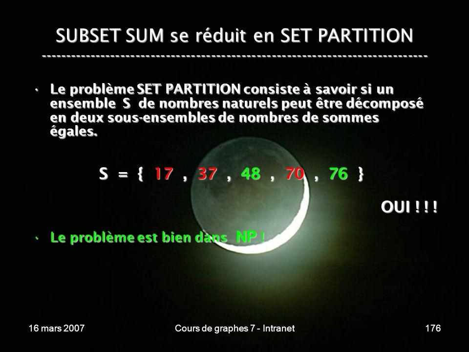 16 mars 2007Cours de graphes 7 - Intranet176 SUBSET SUM se réduit en SET PARTITION ----------------------------------------------------------------------------- S = { 17, 37, 48, 70, 76 } OUI .