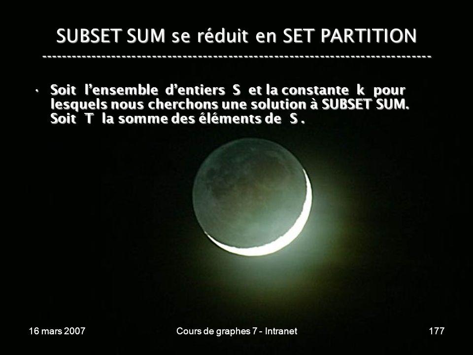 16 mars 2007Cours de graphes 7 - Intranet177 SUBSET SUM se réduit en SET PARTITION ----------------------------------------------------------------------------- Soit lensemble dentiers S et la constante k pour lesquels nous cherchons une solution à SUBSET SUM.