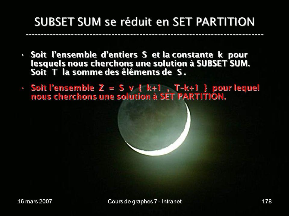 16 mars 2007Cours de graphes 7 - Intranet178 SUBSET SUM se réduit en SET PARTITION ----------------------------------------------------------------------------- Soit lensemble dentiers S et la constante k pour lesquels nous cherchons une solution à SUBSET SUM.