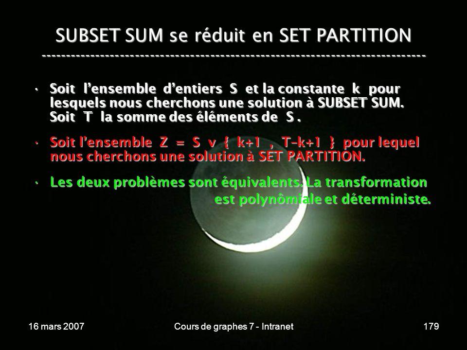 16 mars 2007Cours de graphes 7 - Intranet179 SUBSET SUM se réduit en SET PARTITION ----------------------------------------------------------------------------- Soit lensemble dentiers S et la constante k pour lesquels nous cherchons une solution à SUBSET SUM.