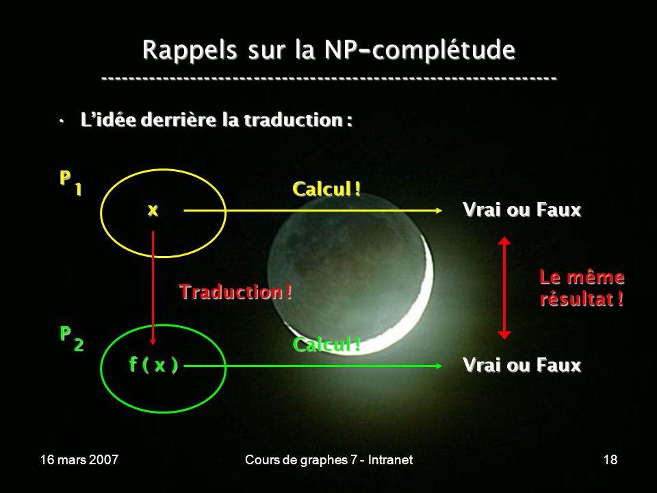 16 mars 2007Cours de graphes 7 - Intranet18 Rappels sur la NP - complétude ----------------------------------------------------------------- Lidée derrière la traduction :Lidée derrière la traduction : P 1 x Vrai ou Faux Calcul .