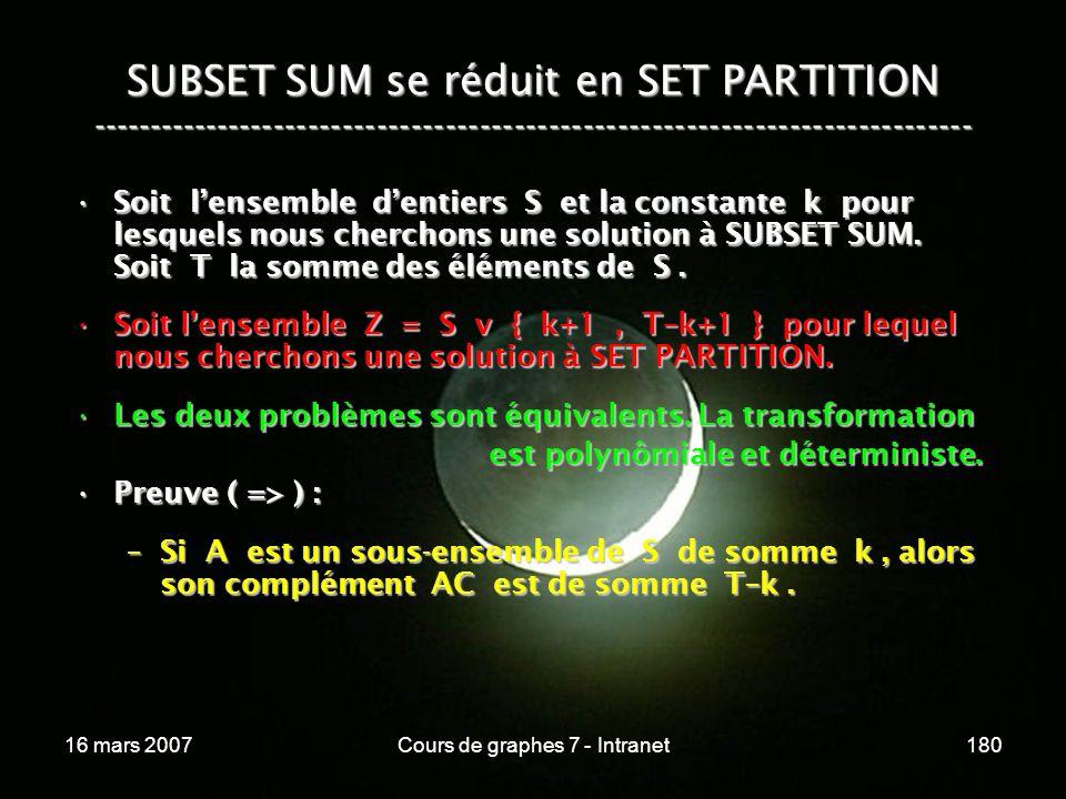 16 mars 2007Cours de graphes 7 - Intranet180 SUBSET SUM se réduit en SET PARTITION ----------------------------------------------------------------------------- Soit lensemble dentiers S et la constante k pour lesquels nous cherchons une solution à SUBSET SUM.