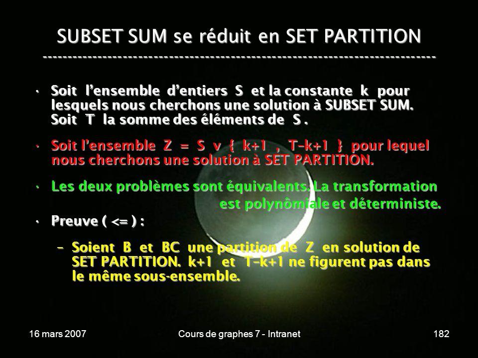 16 mars 2007Cours de graphes 7 - Intranet182 SUBSET SUM se réduit en SET PARTITION ----------------------------------------------------------------------------- Soit lensemble dentiers S et la constante k pour lesquels nous cherchons une solution à SUBSET SUM.