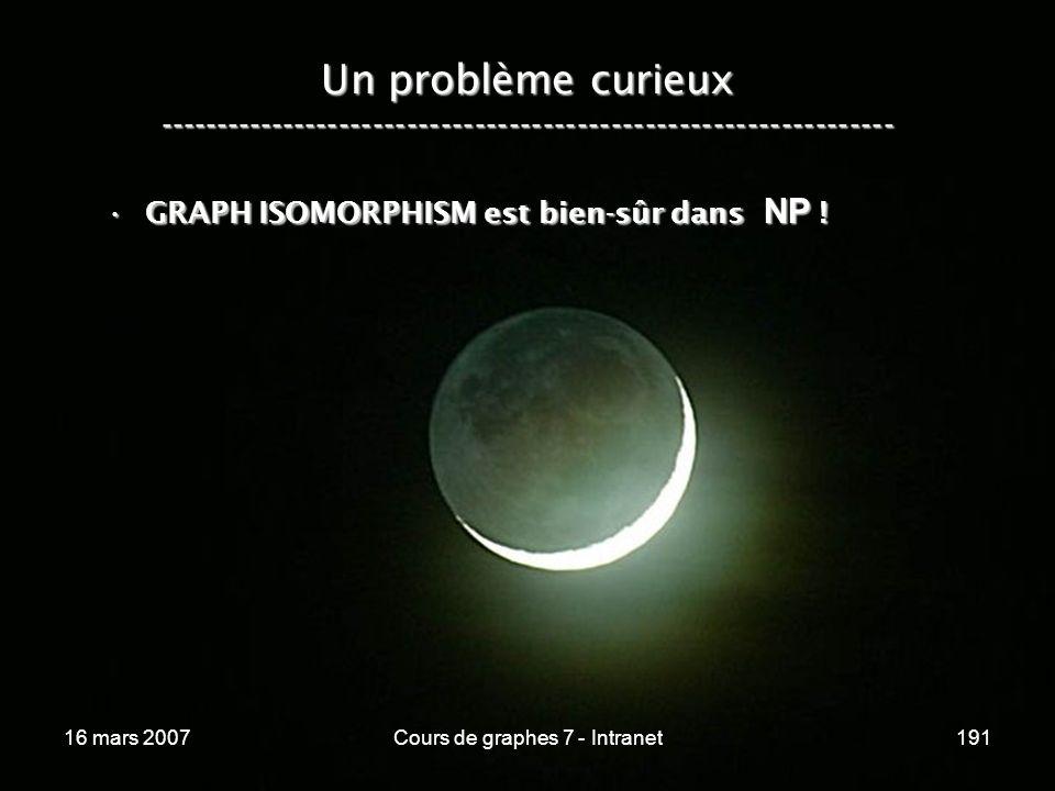 16 mars 2007Cours de graphes 7 - Intranet191 Un problème curieux ----------------------------------------------------------------- GRAPH ISOMORPHISM est bien-sûr dans NP !GRAPH ISOMORPHISM est bien-sûr dans NP !