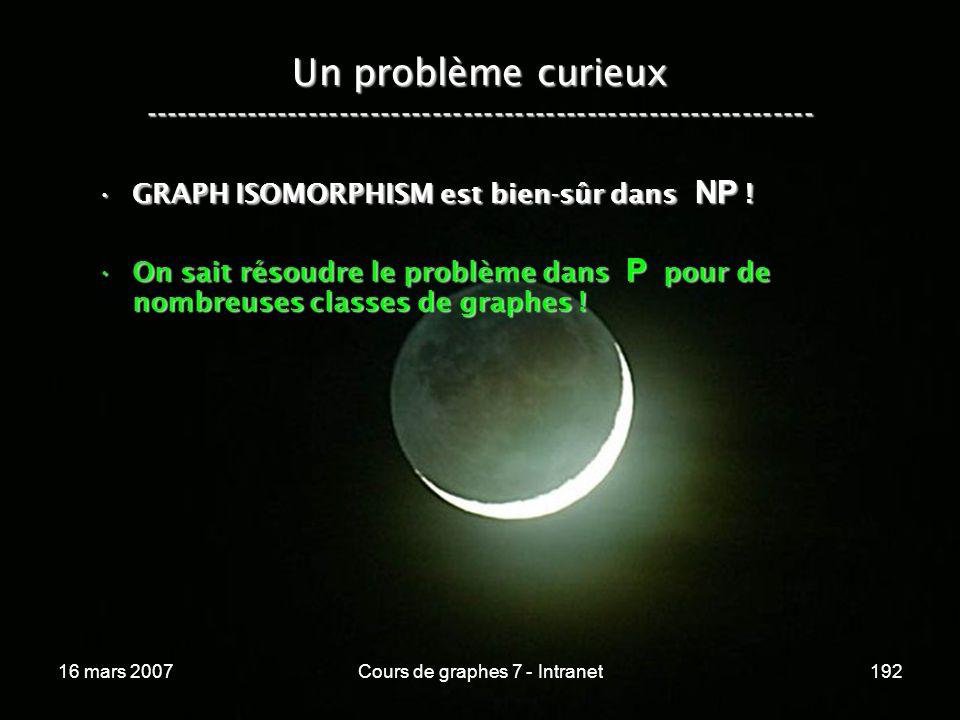 16 mars 2007Cours de graphes 7 - Intranet192 Un problème curieux ----------------------------------------------------------------- GRAPH ISOMORPHISM est bien-sûr dans NP !GRAPH ISOMORPHISM est bien-sûr dans NP .