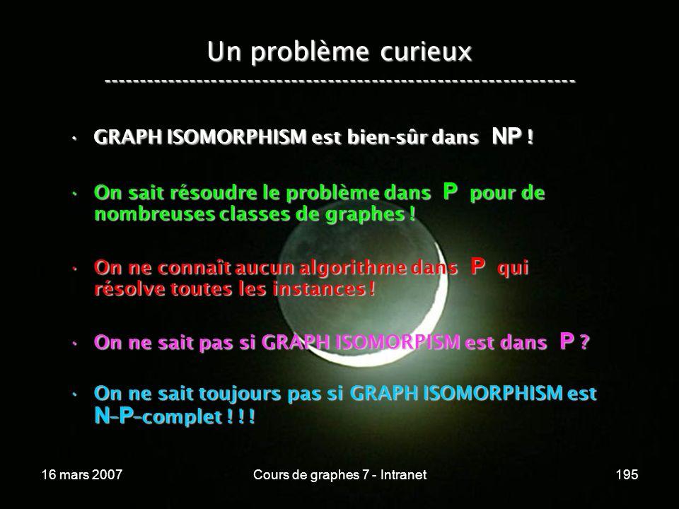 16 mars 2007Cours de graphes 7 - Intranet195 Un problème curieux ----------------------------------------------------------------- GRAPH ISOMORPHISM e