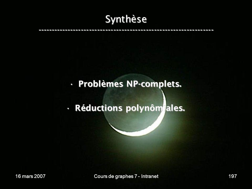 16 mars 2007Cours de graphes 7 - Intranet197 Synthèse ----------------------------------------------------------------- Problèmes NP-complets.Problème