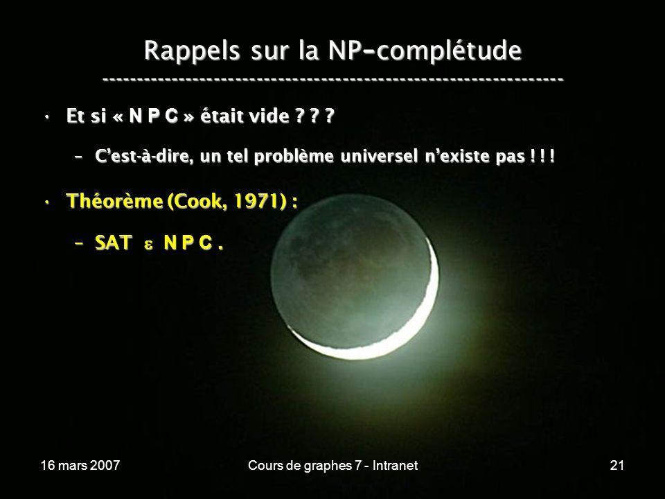 16 mars 2007Cours de graphes 7 - Intranet21 Rappels sur la NP - complétude ----------------------------------------------------------------- Et si « N P C » était vide .