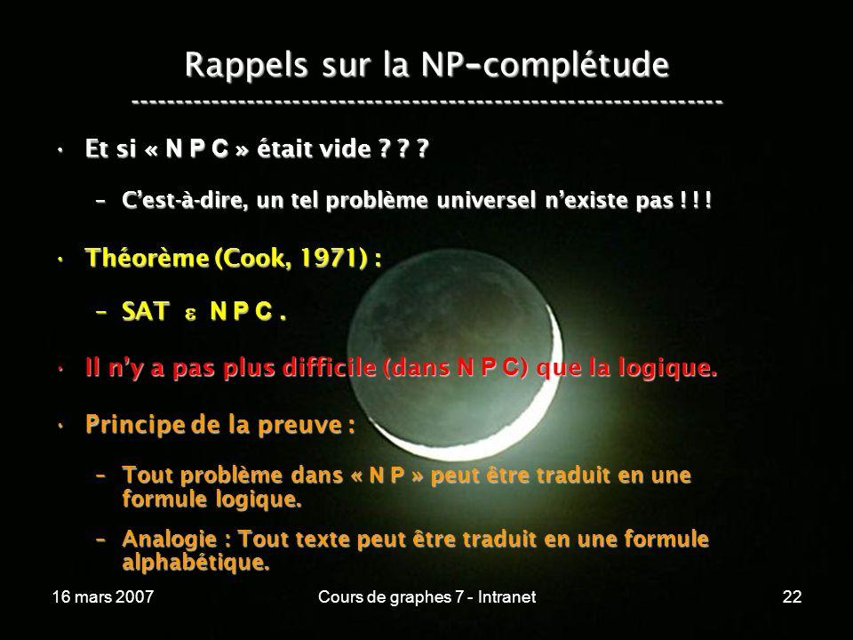 16 mars 2007Cours de graphes 7 - Intranet22 Rappels sur la NP - complétude ----------------------------------------------------------------- Et si « N