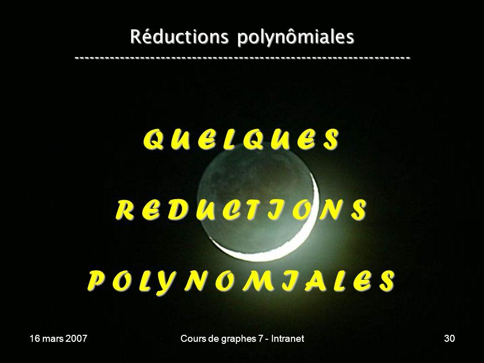 16 mars 2007Cours de graphes 7 - Intranet30 Réductions polynômiales ----------------------------------------------------------------- Q U E L Q U E S R E D U C T I O N S P O L Y N O M I A L E S
