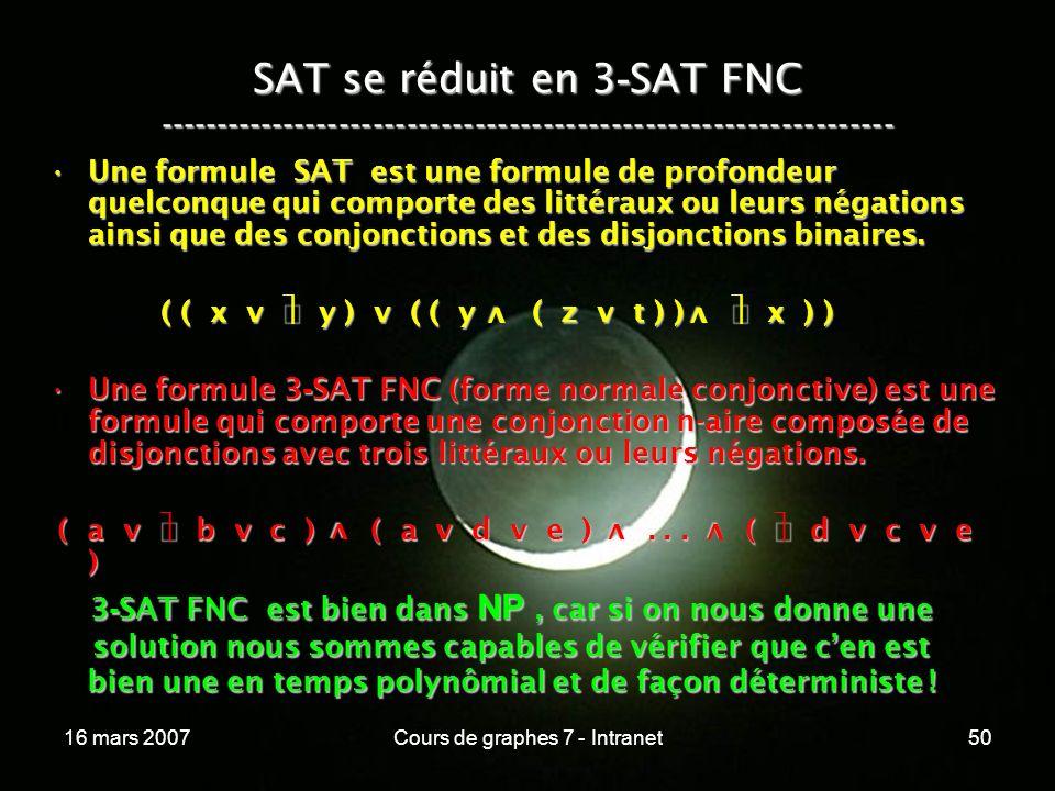 16 mars 2007Cours de graphes 7 - Intranet50 SAT se réduit en 3 - SAT FNC ----------------------------------------------------------------- Une formule SAT est une formule de profondeur quelconque qui comporte des littéraux ou leurs négations ainsi que des conjonctions et des disjonctions binaires.Une formule SAT est une formule de profondeur quelconque qui comporte des littéraux ou leurs négations ainsi que des conjonctions et des disjonctions binaires.