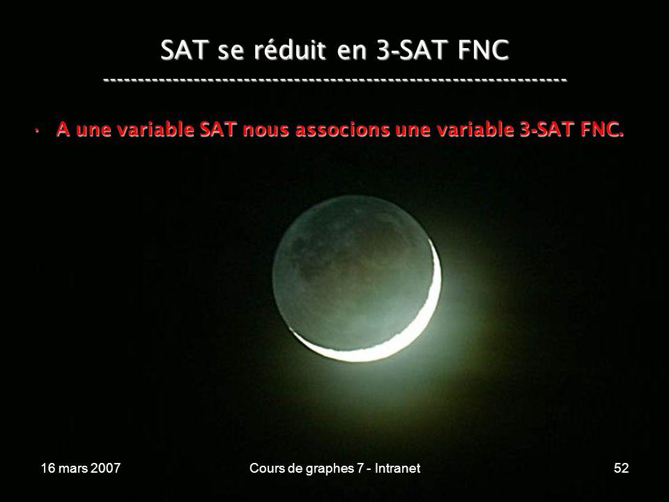 16 mars 2007Cours de graphes 7 - Intranet52 SAT se réduit en 3 - SAT FNC ----------------------------------------------------------------- A une variable SAT nous associons une variable 3 - SAT FNC.A une variable SAT nous associons une variable 3 - SAT FNC.