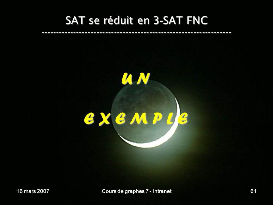 16 mars 2007Cours de graphes 7 - Intranet61 SAT se réduit en 3 - SAT FNC ----------------------------------------------------------------- U N E X E M
