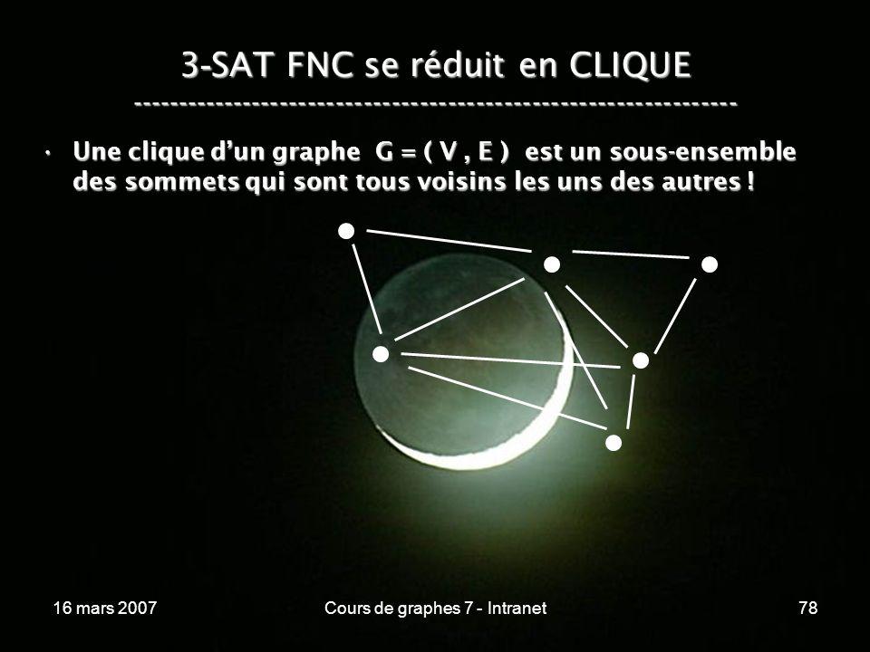 16 mars 2007Cours de graphes 7 - Intranet78 3 - SAT FNC se réduit en CLIQUE ----------------------------------------------------------------- Une clique dun graphe G = ( V, E ) est un sous-ensemble des sommets qui sont tous voisins les uns des autres !Une clique dun graphe G = ( V, E ) est un sous-ensemble des sommets qui sont tous voisins les uns des autres !