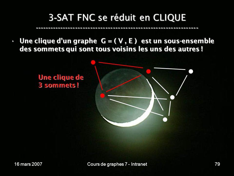 16 mars 2007Cours de graphes 7 - Intranet79 3 - SAT FNC se réduit en CLIQUE ----------------------------------------------------------------- Une clique dun graphe G = ( V, E ) est un sous-ensemble des sommets qui sont tous voisins les uns des autres !Une clique dun graphe G = ( V, E ) est un sous-ensemble des sommets qui sont tous voisins les uns des autres .