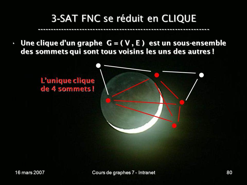 16 mars 2007Cours de graphes 7 - Intranet80 3 - SAT FNC se réduit en CLIQUE ----------------------------------------------------------------- Une clique dun graphe G = ( V, E ) est un sous-ensemble des sommets qui sont tous voisins les uns des autres !Une clique dun graphe G = ( V, E ) est un sous-ensemble des sommets qui sont tous voisins les uns des autres .