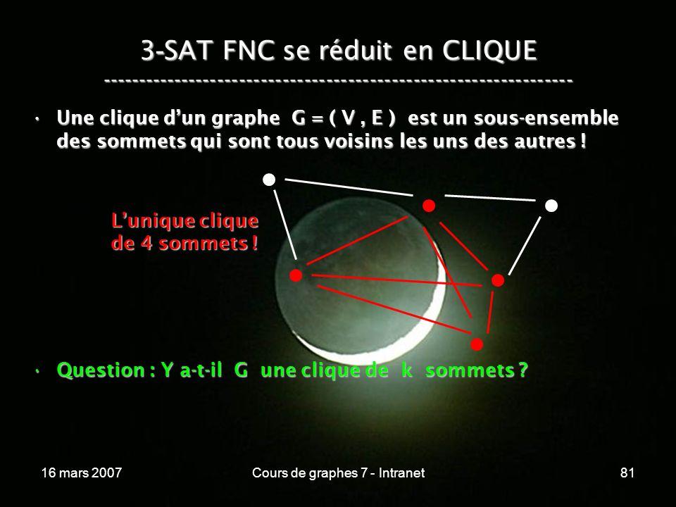 16 mars 2007Cours de graphes 7 - Intranet81 3 - SAT FNC se réduit en CLIQUE ----------------------------------------------------------------- Une clique dun graphe G = ( V, E ) est un sous-ensemble des sommets qui sont tous voisins les uns des autres !Une clique dun graphe G = ( V, E ) est un sous-ensemble des sommets qui sont tous voisins les uns des autres .