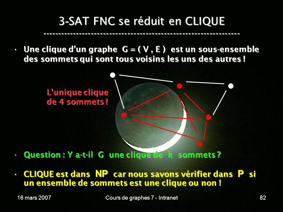 16 mars 2007Cours de graphes 7 - Intranet82 3 - SAT FNC se réduit en CLIQUE ----------------------------------------------------------------- Une clique dun graphe G = ( V, E ) est un sous-ensemble des sommets qui sont tous voisins les uns des autres !Une clique dun graphe G = ( V, E ) est un sous-ensemble des sommets qui sont tous voisins les uns des autres .