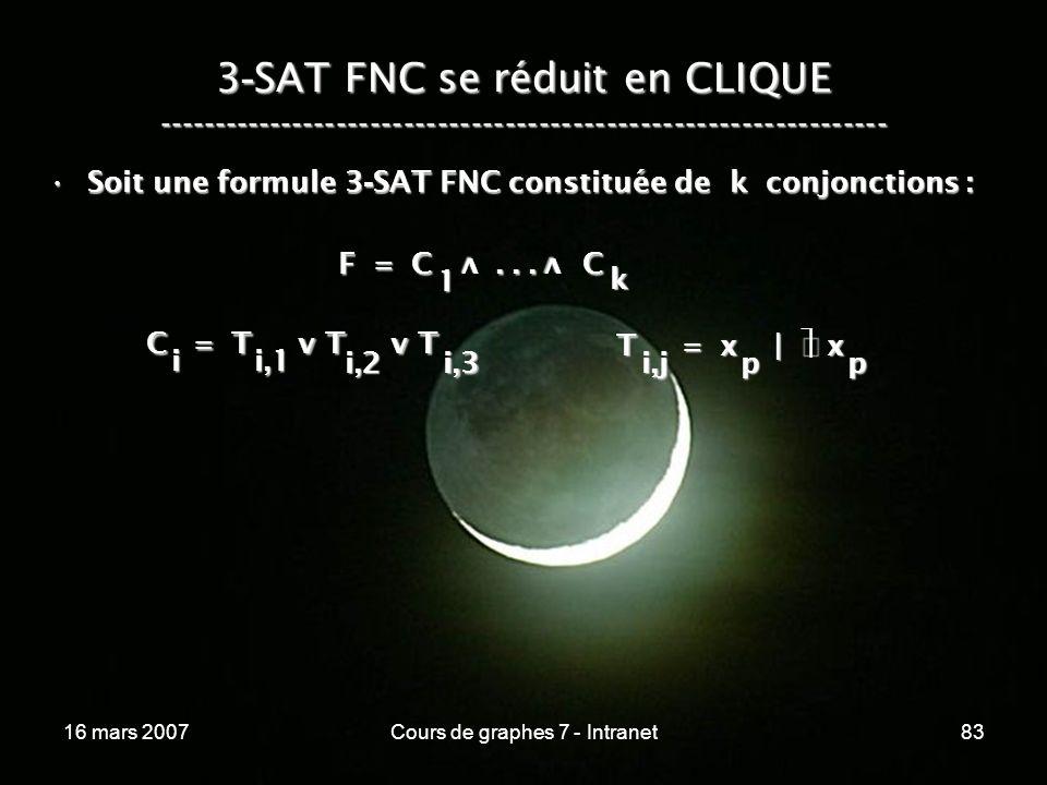 16 mars 2007Cours de graphes 7 - Intranet83 3 - SAT FNC se réduit en CLIQUE ----------------------------------------------------------------- F = C...