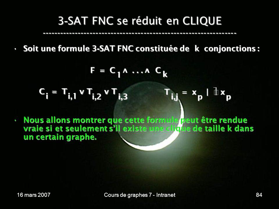 16 mars 2007Cours de graphes 7 - Intranet84 3 - SAT FNC se réduit en CLIQUE ----------------------------------------------------------------- F = C...