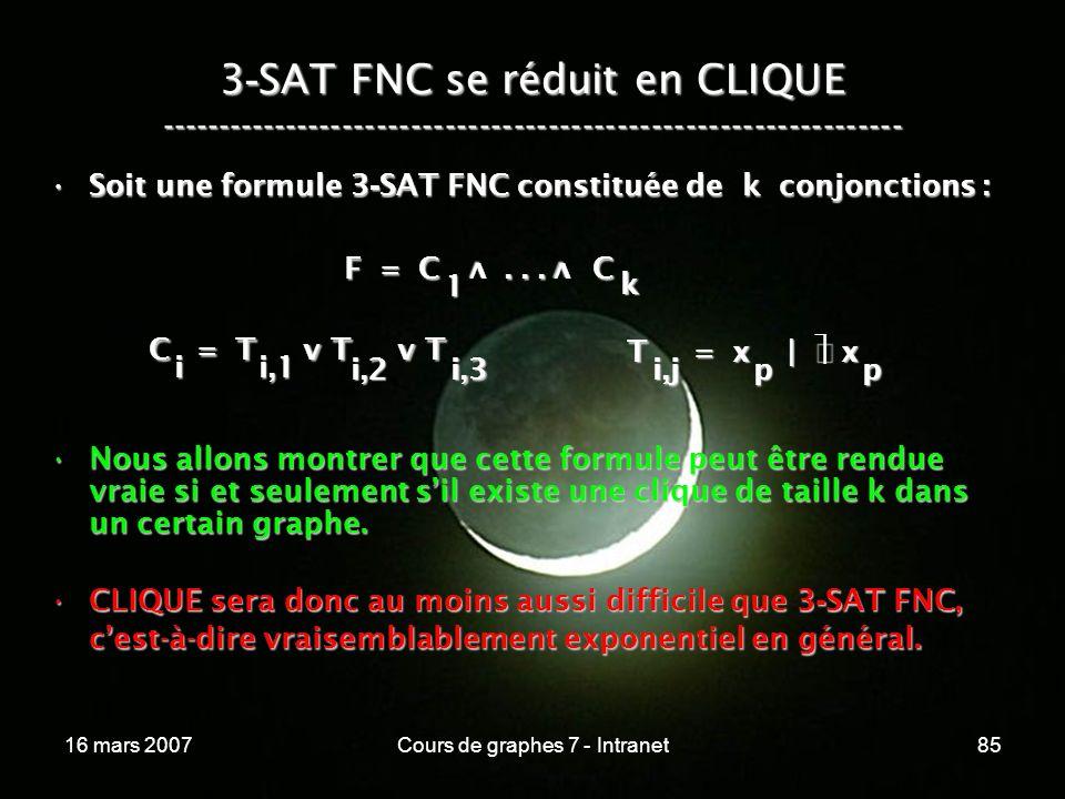 16 mars 2007Cours de graphes 7 - Intranet85 3 - SAT FNC se réduit en CLIQUE ----------------------------------------------------------------- F = C...