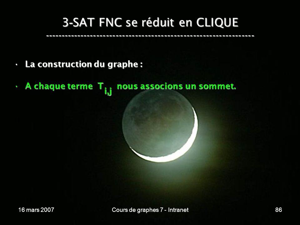 16 mars 2007Cours de graphes 7 - Intranet86 3 - SAT FNC se réduit en CLIQUE ----------------------------------------------------------------- La const