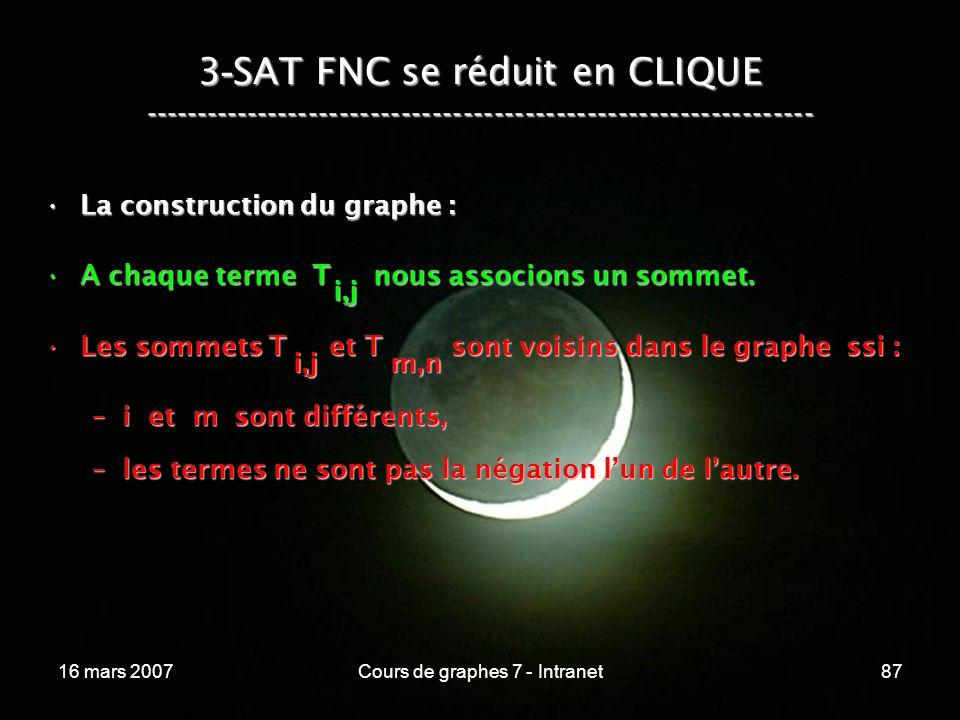 16 mars 2007Cours de graphes 7 - Intranet87 3 - SAT FNC se réduit en CLIQUE ----------------------------------------------------------------- La construction du graphe :La construction du graphe : A chaque terme T nous associons un sommet.A chaque terme T nous associons un sommet.