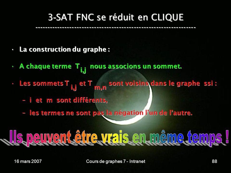 16 mars 2007Cours de graphes 7 - Intranet88 3 - SAT FNC se réduit en CLIQUE ----------------------------------------------------------------- La construction du graphe :La construction du graphe : A chaque terme T nous associons un sommet.A chaque terme T nous associons un sommet.