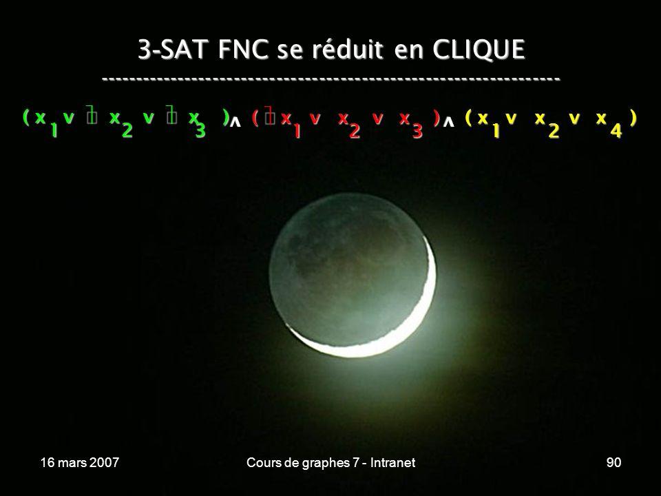 16 mars 2007Cours de graphes 7 - Intranet90 3 - SAT FNC se réduit en CLIQUE ----------------------------------------------------------------- ( x v x v x ) 123 123 v 124 v