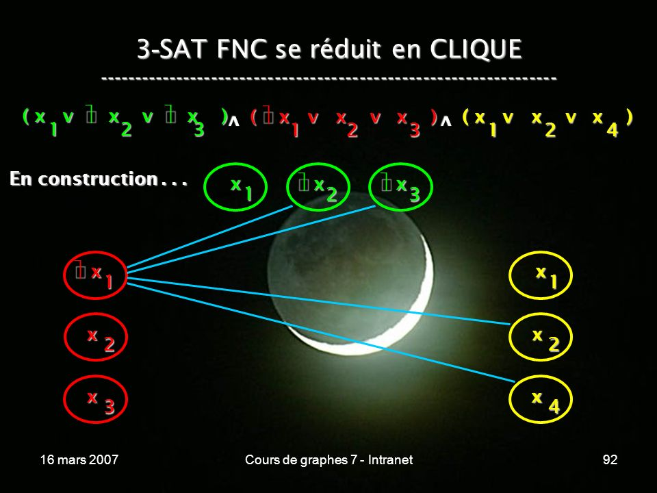 16 mars 2007Cours de graphes 7 - Intranet92 3 - SAT FNC se réduit en CLIQUE ----------------------------------------------------------------- ( x v x v x ) 123 123 v 124 v x 1 x 2 x 3 x x 1 x 2 x 3 x 1 x 2 x 4 En construction...