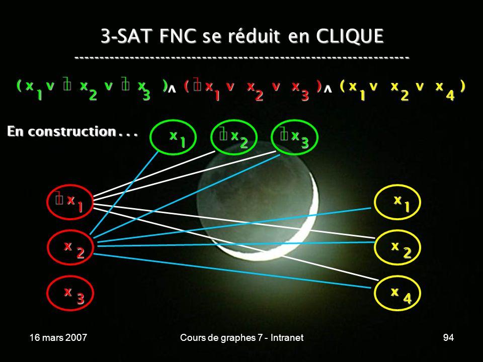 16 mars 2007Cours de graphes 7 - Intranet94 3 - SAT FNC se réduit en CLIQUE ----------------------------------------------------------------- ( x v x v x ) 123 123 v 124 v x 1 x 2 x 3 x x 1 x 2 x 3 x 1 x 2 x 4 En construction...
