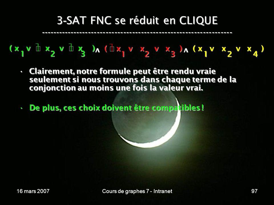 16 mars 2007Cours de graphes 7 - Intranet97 3 - SAT FNC se réduit en CLIQUE ----------------------------------------------------------------- ( x v x v x ) 123 123 v 124 v Clairement, notre formule peut être rendu vraie seulement si nous trouvons dans chaque terme de la conjonction au moins une fois la valeur vrai.Clairement, notre formule peut être rendu vraie seulement si nous trouvons dans chaque terme de la conjonction au moins une fois la valeur vrai.