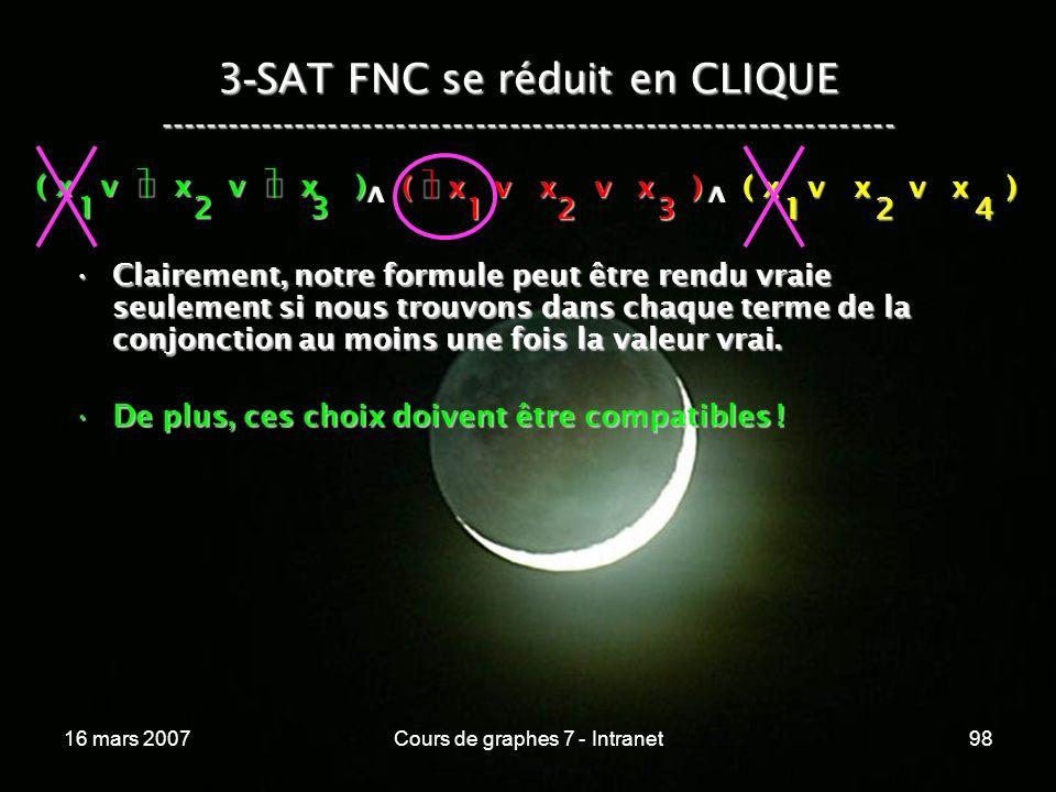 16 mars 2007Cours de graphes 7 - Intranet98 3 - SAT FNC se réduit en CLIQUE ----------------------------------------------------------------- ( x v x v x ) 123 123 v 124 v Clairement, notre formule peut être rendu vraie seulement si nous trouvons dans chaque terme de la conjonction au moins une fois la valeur vrai.Clairement, notre formule peut être rendu vraie seulement si nous trouvons dans chaque terme de la conjonction au moins une fois la valeur vrai.