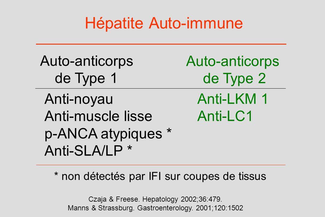 Hépatite Auto-immune Anti-noyauAnti-LKM 1 Anti-muscle lisseAnti-LC1 p-ANCA atypiques * Anti-SLA/LP * Auto-anticorps de Type 1 Auto-anticorps de Type 2