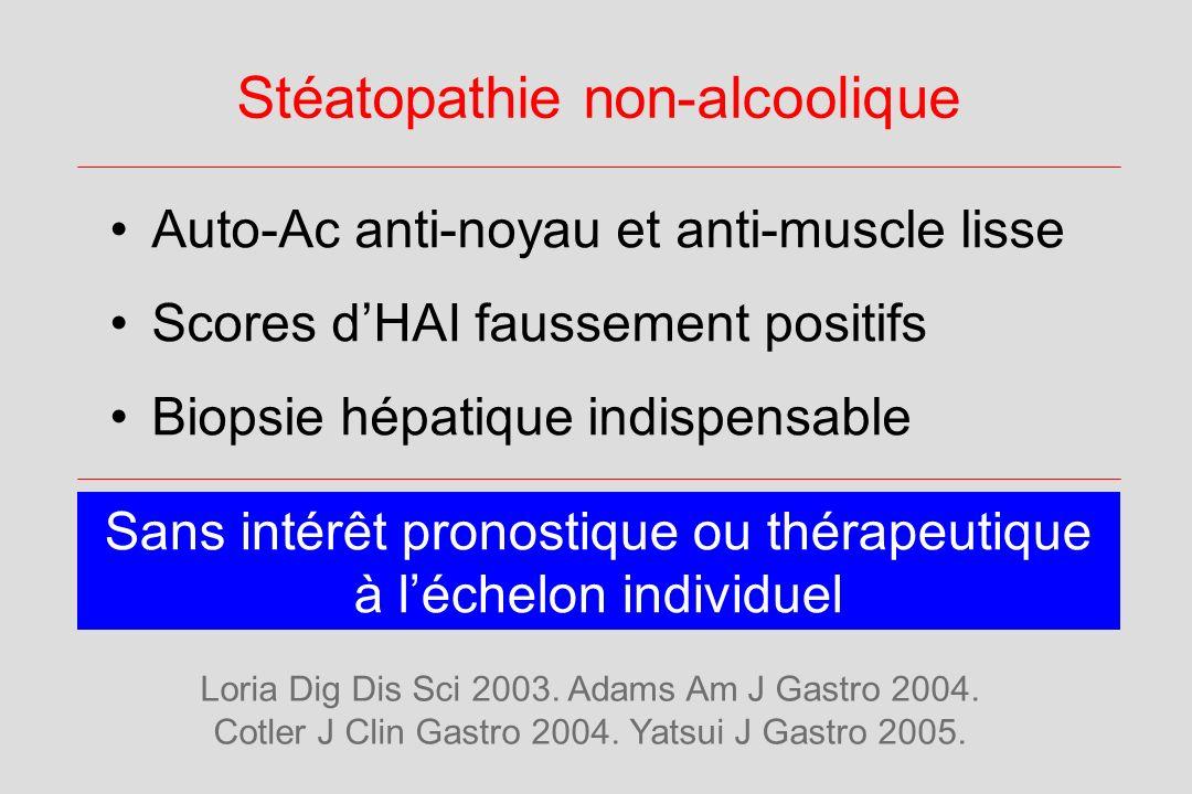 Stéatopathie non-alcoolique Auto-Ac anti-noyau et anti-muscle lisse Scores dHAI faussement positifs Biopsie hépatique indispensable Sans intérêt prono