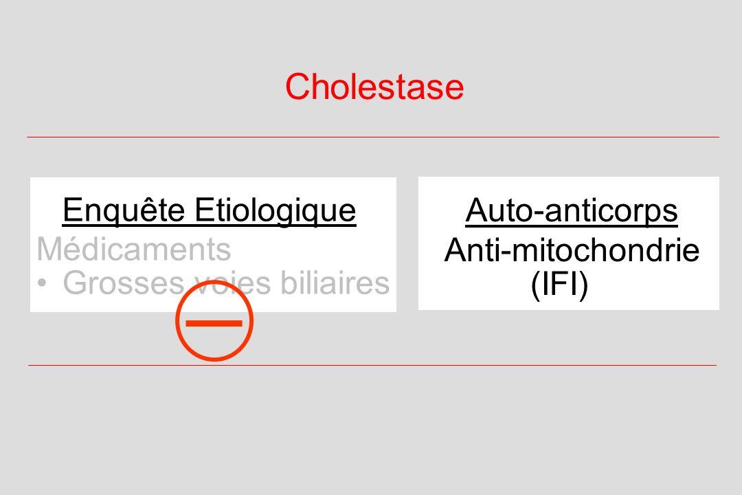 Cholestase Auto-anticorps Anti-mitochondrie (IFI) Enquête Etiologique Médicaments Grosses voies biliaires _