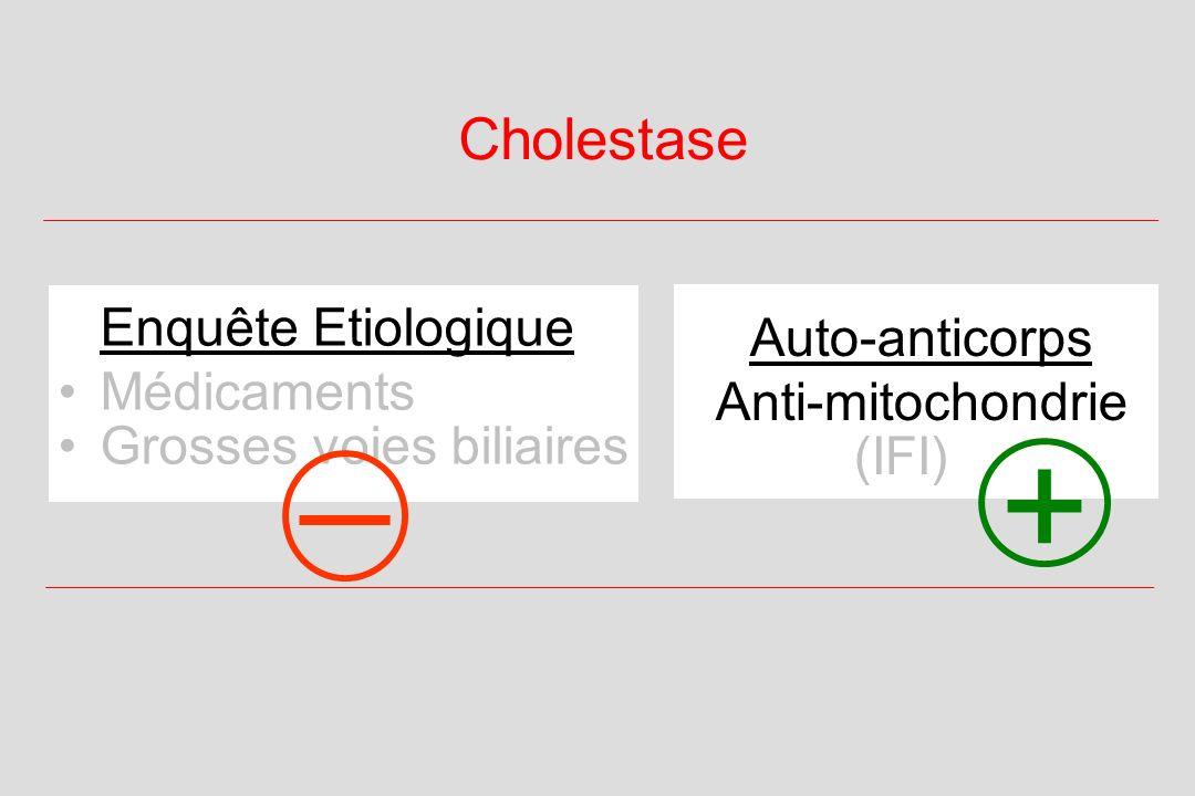 Cholestase Auto-anticorps Anti-mitochondrie (IFI) Enquête Etiologique Médicaments Grosses voies biliaires + _