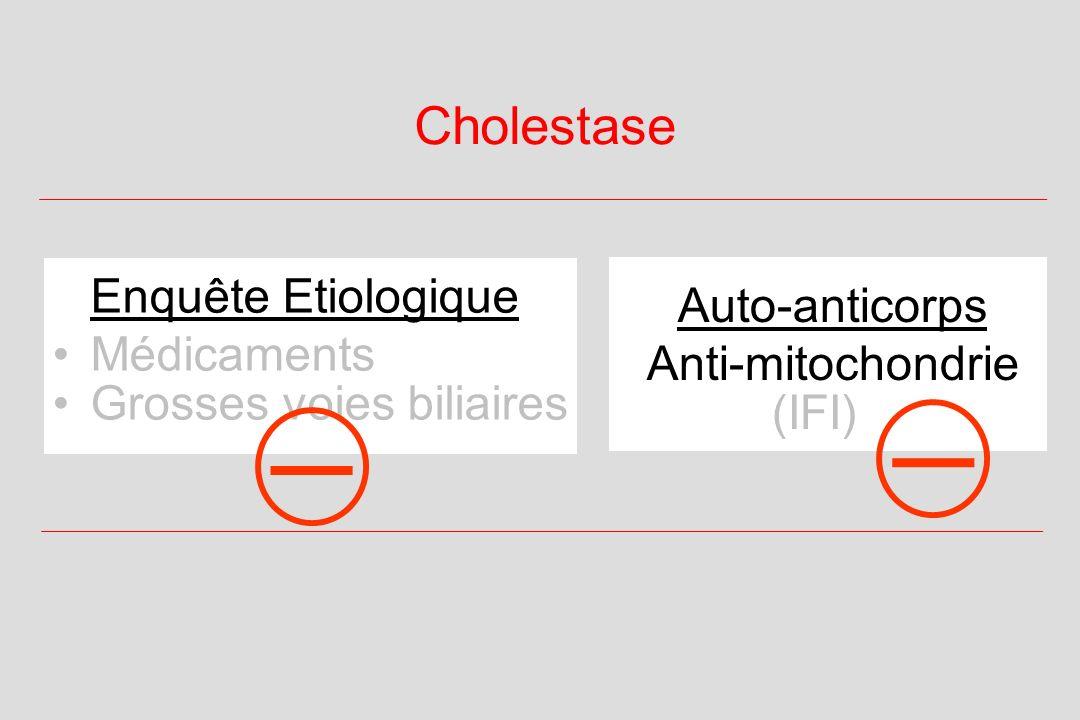 Cholestase Auto-anticorps Anti-mitochondrie (IFI) Enquête Etiologique Médicaments Grosses voies biliaires _ _