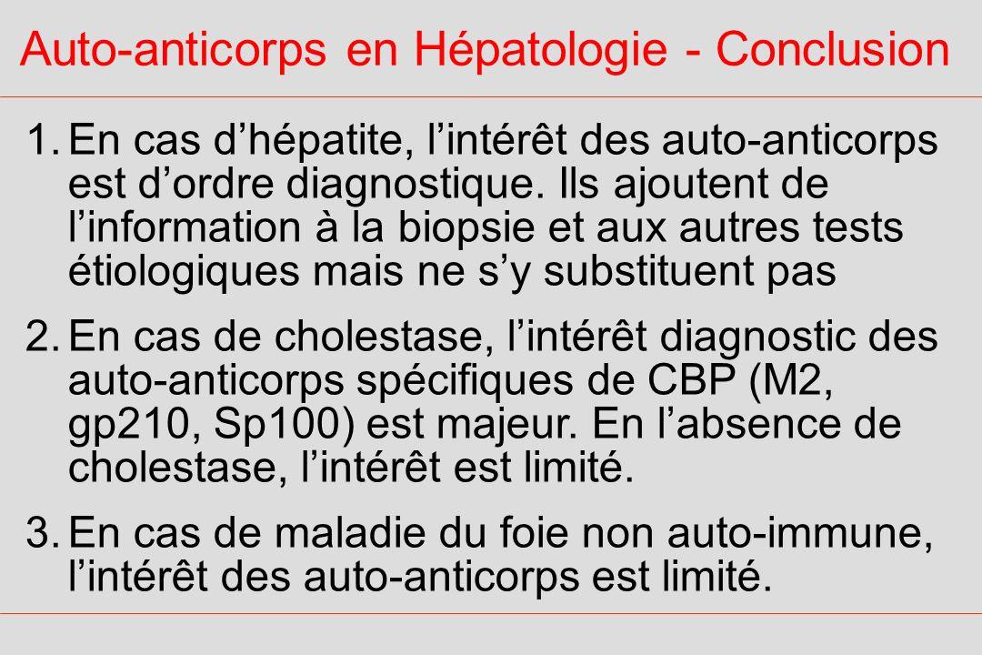 Auto-anticorps en Hépatologie - Conclusion 1.En cas dhépatite, lintérêt des auto-anticorps est dordre diagnostique. Ils ajoutent de linformation à la