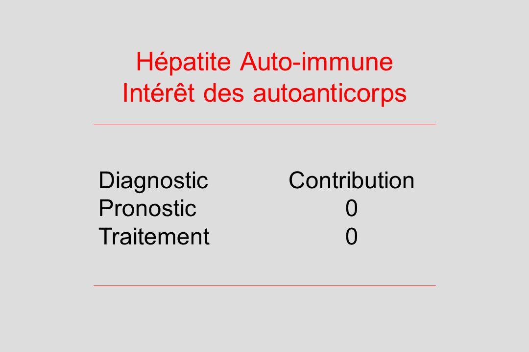 Hépatite Auto-immune Intérêt des autoanticorps DiagnosticContribution Pronostic0 Traitement0