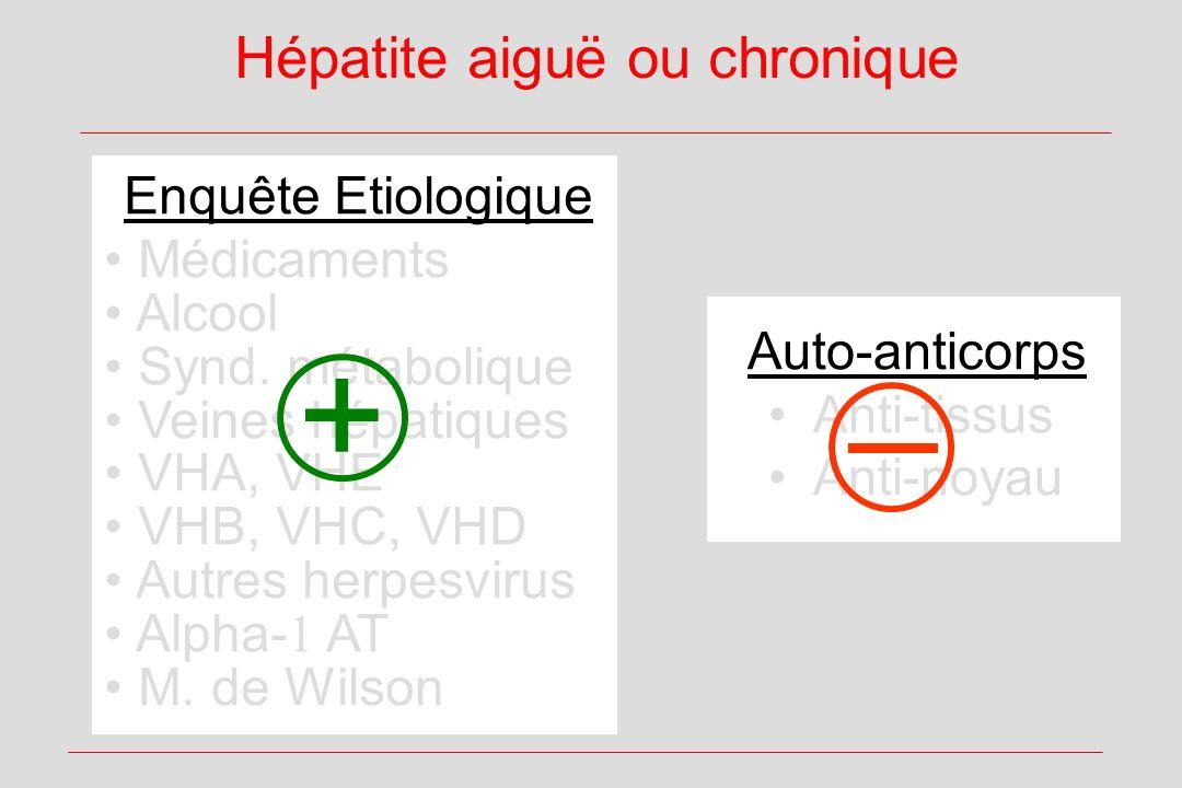 Enquête Etiologique Médicaments Alcool Synd. métabolique Veines hépatiques VHA, VHE VHB, VHC, VHD Autres herpesvirus Alpha- AT M. de Wilson Hépatite a