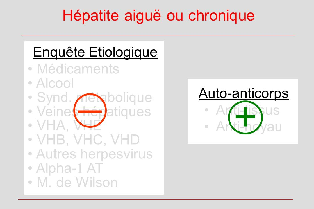 Hépatite aiguë ou chronique Enquête Etiologique Médicaments Alcool Synd. métabolique Veines hépatiques VHA, VHE VHB, VHC, VHD Autres herpesvirus Alpha