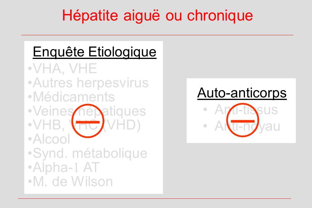 Hépatite aiguë ou chronique Enquête Etiologique VHA, VHE Autres herpesvirus Médicaments Veines hépatiques VHB, VHC (VHD) Alcool Synd. métabolique Alph