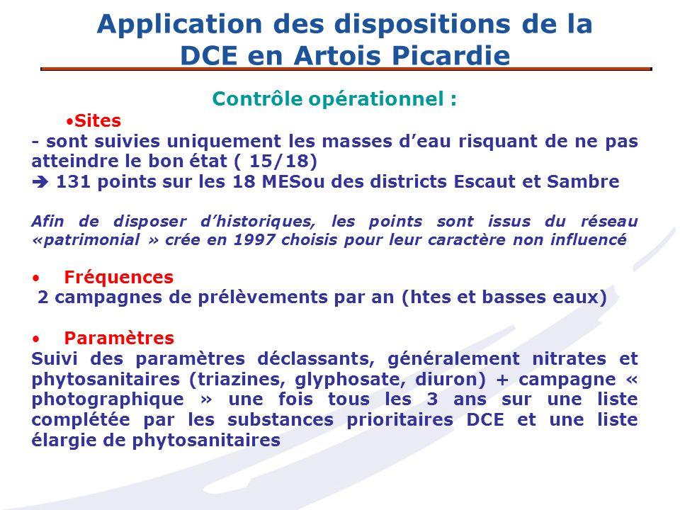 Application des dispositions de la DCE en Artois Picardie Contrôle opérationnel : Sites - sont suivies uniquement les masses deau risquant de ne pas a