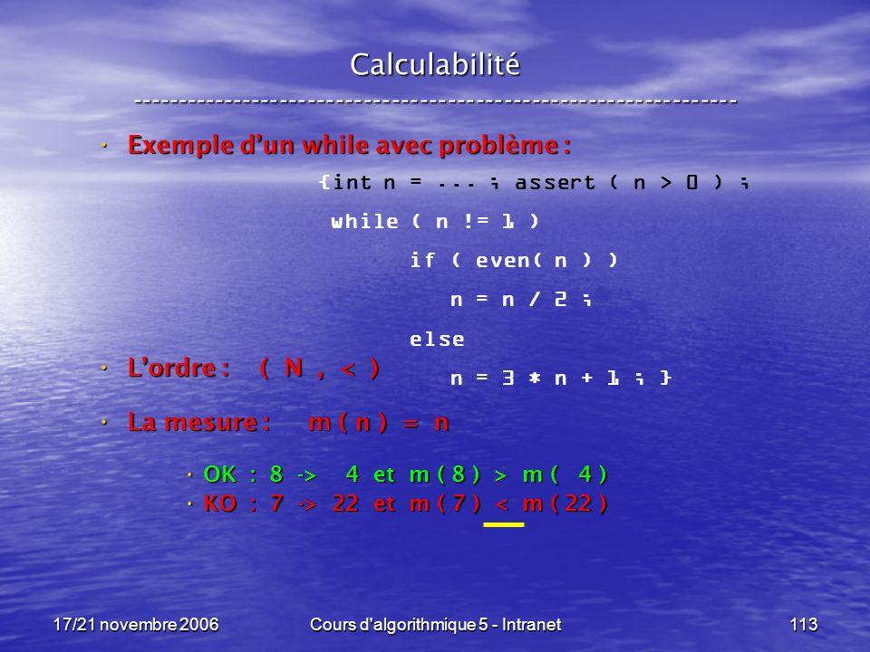 17/21 novembre 2006Cours d algorithmique 5 - Intranet113 Calculabilité ----------------------------------------------------------------- {int n =...