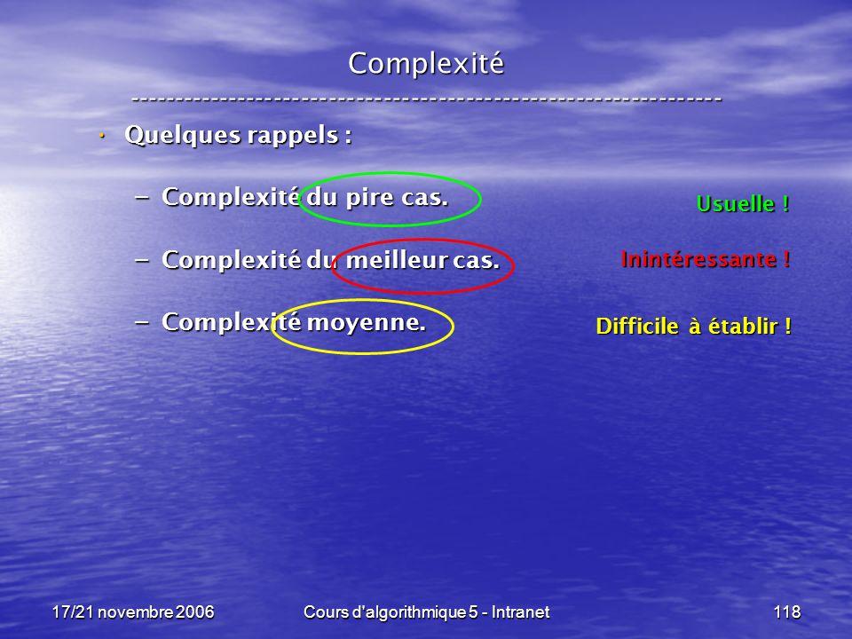 17/21 novembre 2006Cours d algorithmique 5 - Intranet118 Complexité ----------------------------------------------------------------- Quelques rappels : Quelques rappels : – Complexité du pire cas.