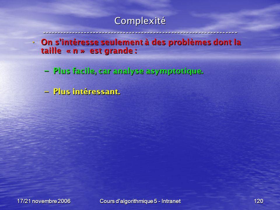 17/21 novembre 2006Cours d algorithmique 5 - Intranet120 Complexité ----------------------------------------------------------------- On sintéresse seulement à des problèmes dont la taille « n » est grande : On sintéresse seulement à des problèmes dont la taille « n » est grande : – Plus facile, car analyse asymptotique.