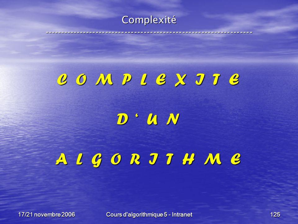 17/21 novembre 2006Cours d algorithmique 5 - Intranet125 Complexité ----------------------------------------------------------------- C O M P L E X I T E D U N A L G O R I T H M E