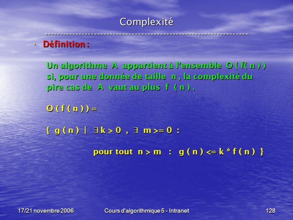 17/21 novembre 2006Cours d algorithmique 5 - Intranet128 Complexité ----------------------------------------------------------------- Définition : Définition : Un algorithme A appartient à lensemble O ( f( n ) ) si, pour une donnée de taille n, la complexité du pire cas de A vaut au plus f ( n ).
