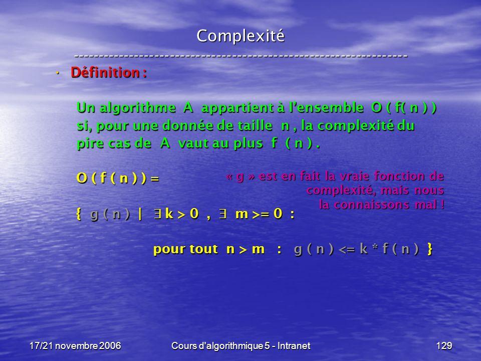 17/21 novembre 2006Cours d algorithmique 5 - Intranet129 Complexité ----------------------------------------------------------------- Définition : Définition : Un algorithme A appartient à lensemble O ( f( n ) ) si, pour une donnée de taille n, la complexité du pire cas de A vaut au plus f ( n ).
